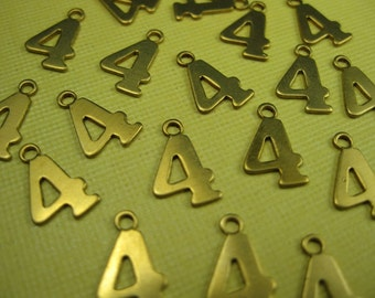 Vintage Brass Number 4 Charm Pendant