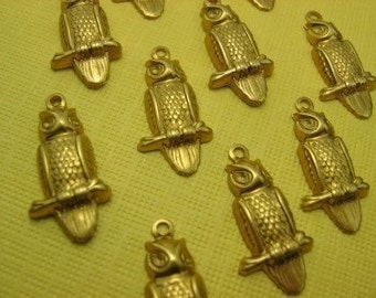 6 Brass Owl Charms Beads