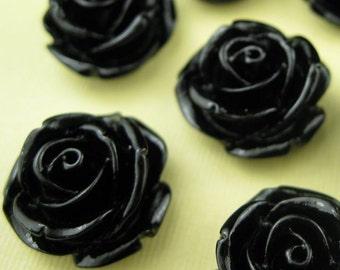 6 Large Black Lucite Cabochon Roses