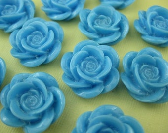 6 Large Blue Lucite Cabochon Roses