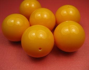 6 Large Vintage Round Sherbert Orange Beads