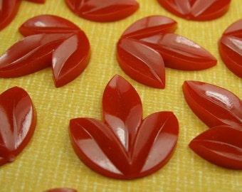 6 Vintage Red Leaf Cabochons