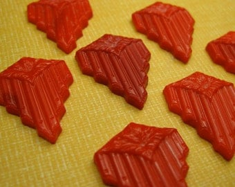 6 Vintage Red German Glass Cabochons