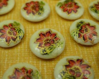 6 Vintage Japanese Flower Glass Cabochons