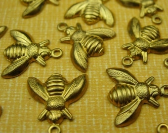 50 Vintage Brass Bee Charms Beads