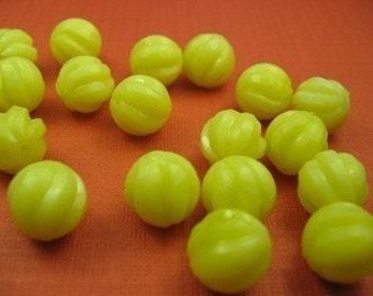 15 Vintage Plastic Yellow Beads