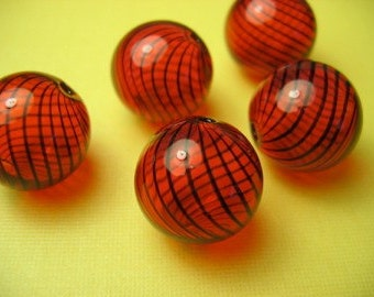 4 Red and Black Hand Blown Glass Beads