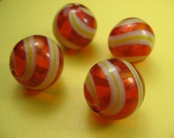4 Red Hand Blown Glass Beads