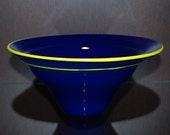 Hand Blown Glass Blue Bowl with Yellow Lip Wrap