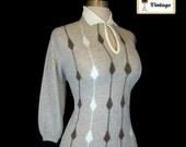 Vintage 50s 60s BOBBIE BROOKS Rockabilly Pinup Sweater Intarsia Knit L Nos
