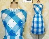 Vintage 50s 60s Carol Brent Blue White Cotton Checkered Plaid Sun Day Dress L Nos