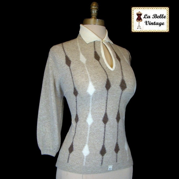 Vintage 50s 60s BOBBIE BROOKS Rockabilly Pinup Sweater Intarsia Knit L Nos