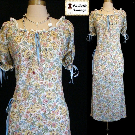 Vintage 40s Romantic Floral Sheer Cotton Voile Dress XL XXL