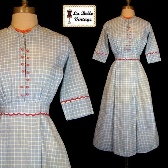 Circa 1915 WW1 Blue Red Cotton Embroidered Post Edwardian Dress XS S