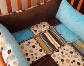 Dots and Stripes Custom Baby Nursery Complete Boutique 4-Piece Crib Bedding Set with Minky