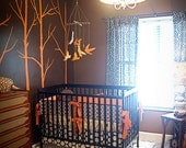 Custom Orange and Brown Modern Birds Boutique Crib Bedding Set with Piping(as seen in BABY TALK Magazine)