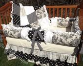 Custom Posh Black&Cream with Silk Baby Tiered Dust Ruffle Luxury Crib Bedding Set With Ruffles