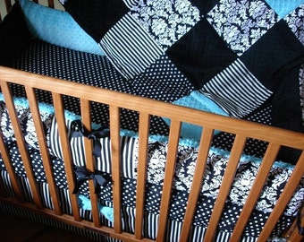 Custom Black White and Choose your Accent Color 4-Piece Complete Crib Nursery Bedding Set