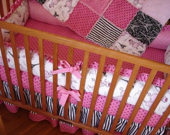 Custom Chic Paris Poodle 4-Piece Crib Baby Nursery with RUFFLES Bedding Set HARD to FIND Unique