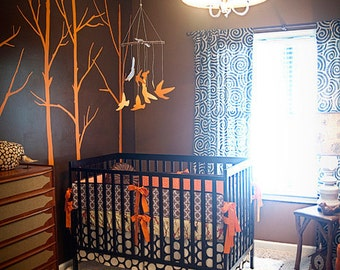 Custom Rustic Orange and Brown Modern Birds Boutique Crib Bedding Set with Piping(as seen in BABY TALK Magazine)