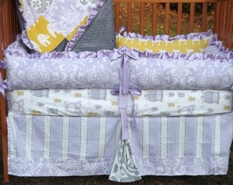 Custom Purple/Lilac Yellow & Grey Owl Giraffe Damask Stripe Boutique Crib Bedding Set CUSTOMIZE