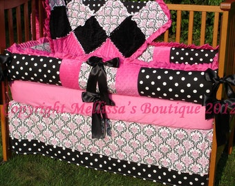 Custom Hot Pink Black And White Damask with Ruffles Crib Bedding Set YOUR CHOICE to CUSTOMIZE