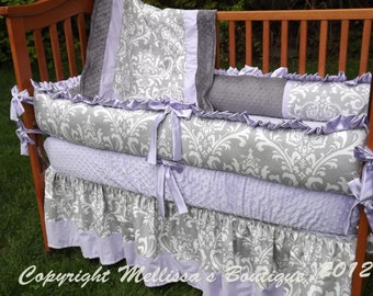 Custom Grey Damask with Accent YOUR CHOICE 4-Piece Complete Boutique Crib Nursery Bedding Set
