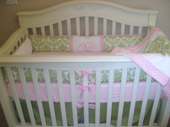 Custom For Courtneyb252 Pink And Green Damask Crib Bedding Set