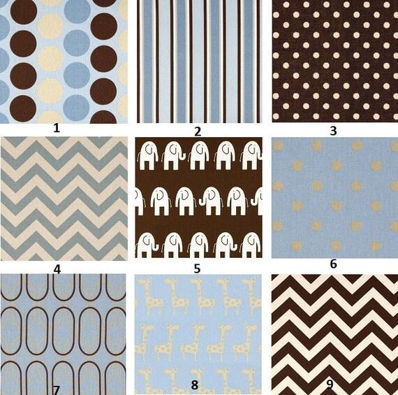 Custom for kabshb Baby Blue Chocolate and Beige Modern Designer Boutique Crib Bedding Set