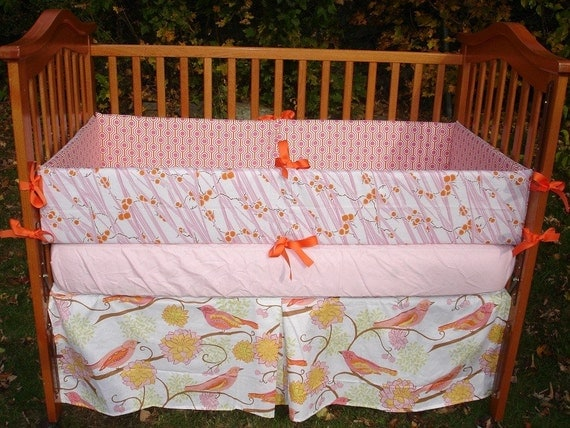 Custom for jdriddle7 Pink Tangerine and White Complete Boutique Crib Bedding Set made with Designer Fabrics