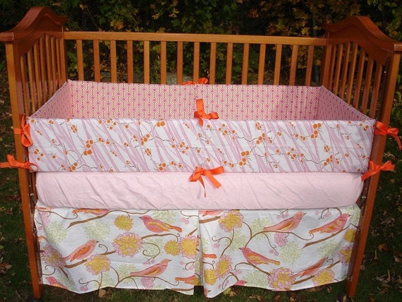 Custom for cbaileyhollybolly1 Pink Tangerine and White Boutique Crib Bedding Set made with Valori Wells NEST