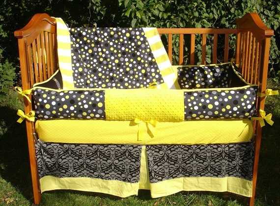 Custom Black Gray And Yellow Miller Mod Groove 4-Piece Crib
