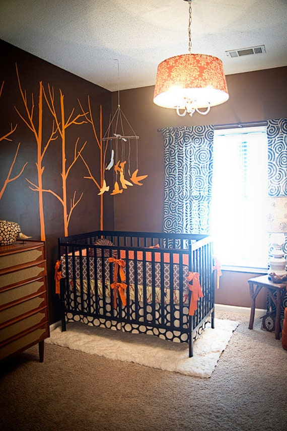 Custom orange and brown modern birds complete 4 piece boutique for Cute baby boy bedroom ideas