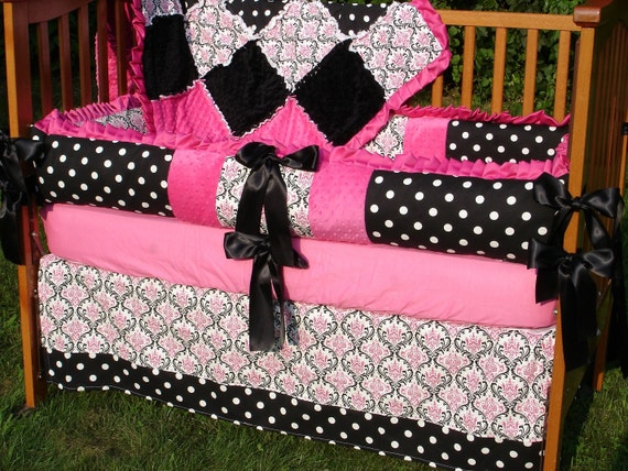 Custom for Breezee24 Hot Pink Black And White Damask & Polka Dots Crib Bedding Set with Ruffles
