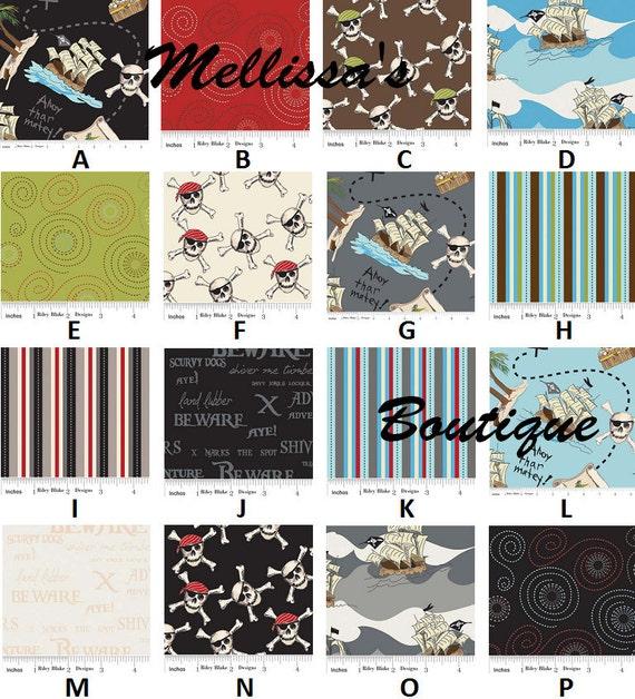 Custom for Akern24 PIRATES fabrics by Emily Taylor Boutique Crib Bedding Set Ahoy Matey