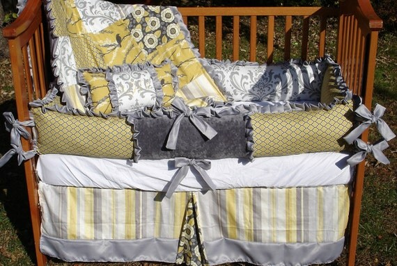 Custom Grey and Yellow Damask Sparrows Complete 3-Piece Boutique Crib Bedding Set with Ruffles
