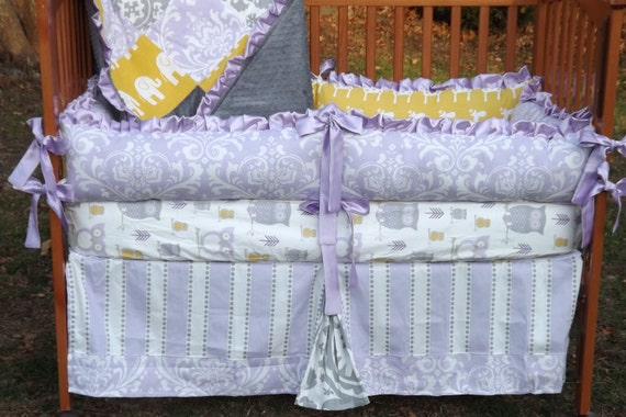 Custom Wisteria(Lavender) Corn Yellow and Storm Grey Boutique Crib Bedding Set CHOOSE & CUSTOMIZE