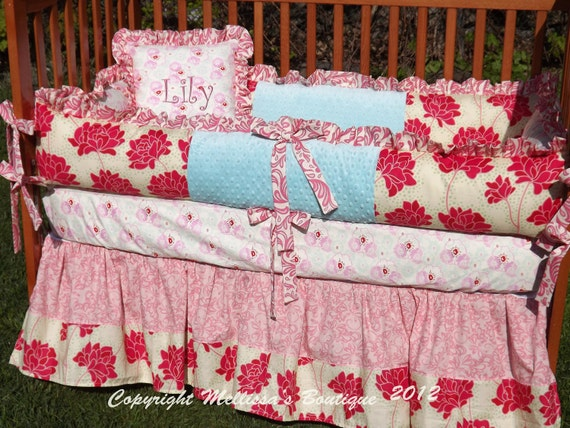 Custom Aqua Blue & Pinks with Red 3-Piece Boutique Crib Nursery Bedding Set with Piping or a Ruffle