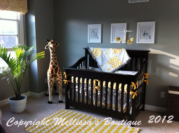 Custom Just Yellow and Grey options Boutique Crib Bedding Complete 4-Piece Set YOUR CHOICE