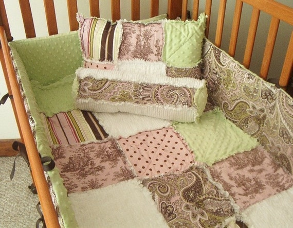 Brown Toile Bedroom Ideas: Pink Brown Green Toile And Paisley Custom Baby Crib Rag Quilt