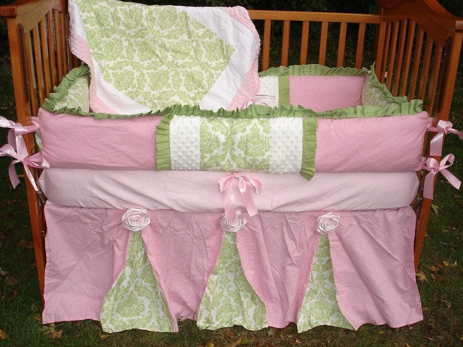 Custom Pink and Green Damask Luxury Crib Bedding Set READY TO