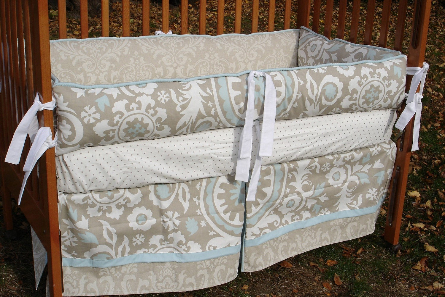 Custom Damask Suzani Beige Tan Blue And White Neutral Crib