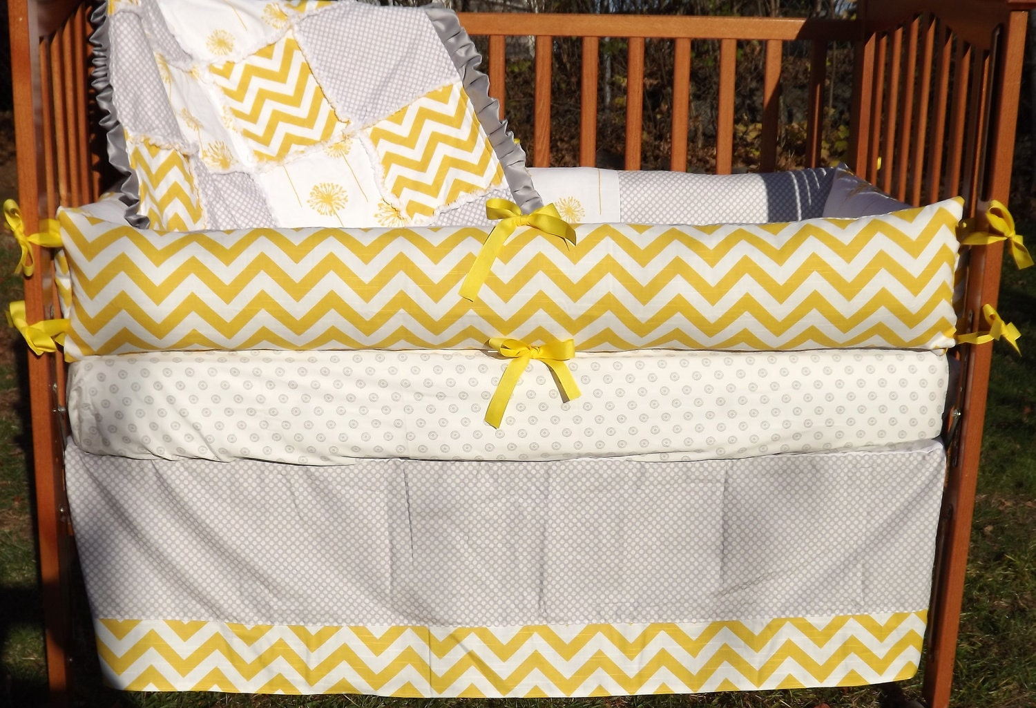 Custom Corn Yellow and Grey Boutique Crib by mellissasboutique
