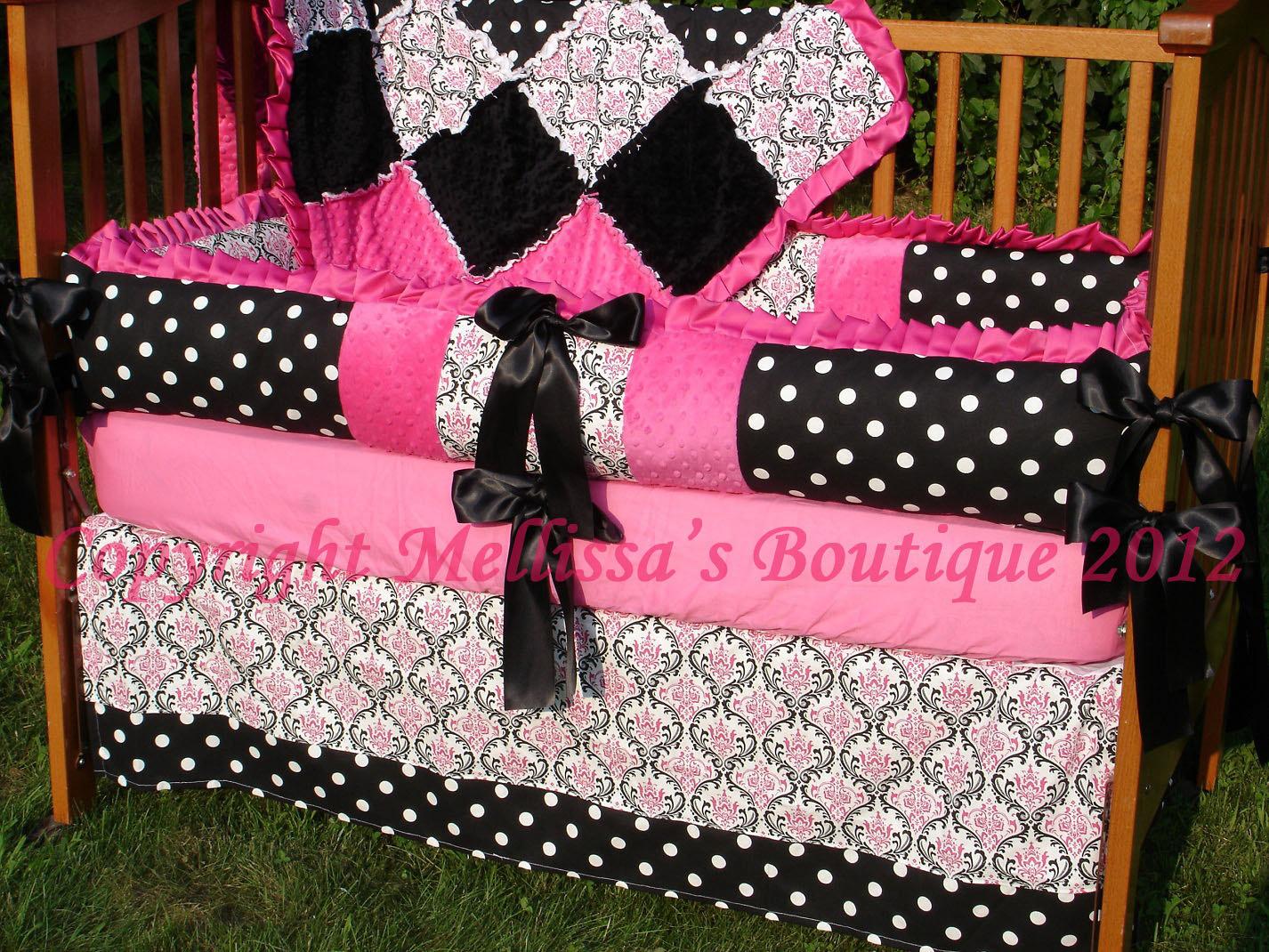 Custom Hot Pink Black And White Damask Or Zebra Crib Bedding