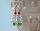 White Christmas Tree Earrings with Czech Glass Beads Jewelry Winter Snow New England Christmas