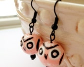 Owl Earrings Pink Black white hand-painted Owls Bird beads Jewelry New England