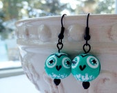 Owl Earrings Teal Black white hand-painted owls beads Jewelry New England