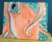 Original Whimsical Mixed Media Nautical Octopus Orange Teal Glitter painting on Wood 11 x 9  Free Shipping