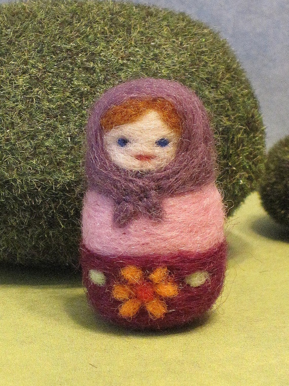 Tiny Matryoshka Doll Needle Felted