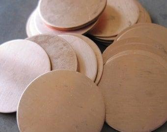 1 Inch (25mm) Copper Disks - QUANTITY 5 - 24g